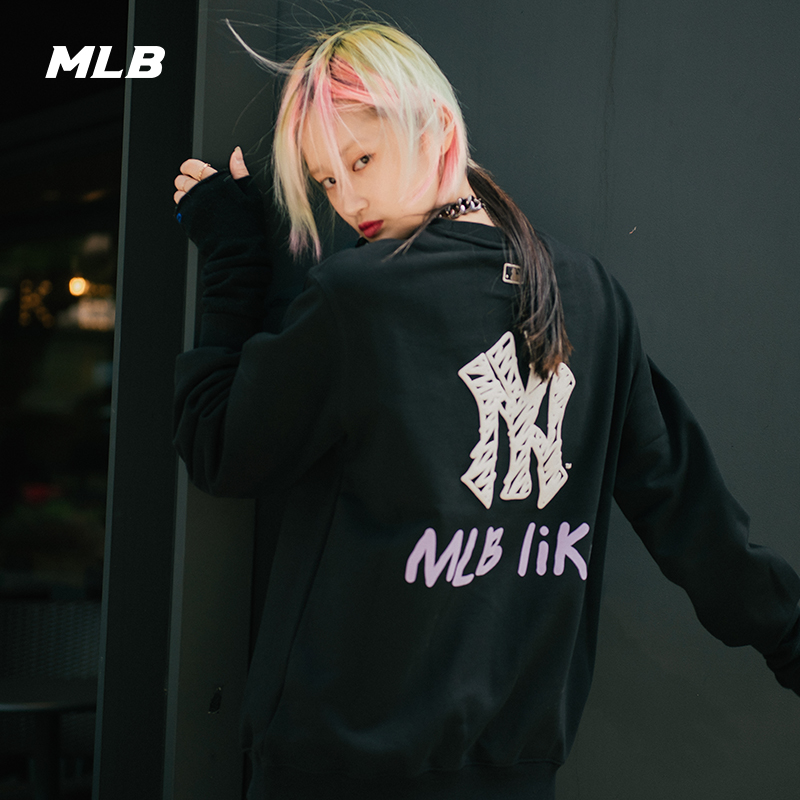 MLB official men's and women's sweater like series long sleeve loose graffiti print sports casual round neck-31mt05