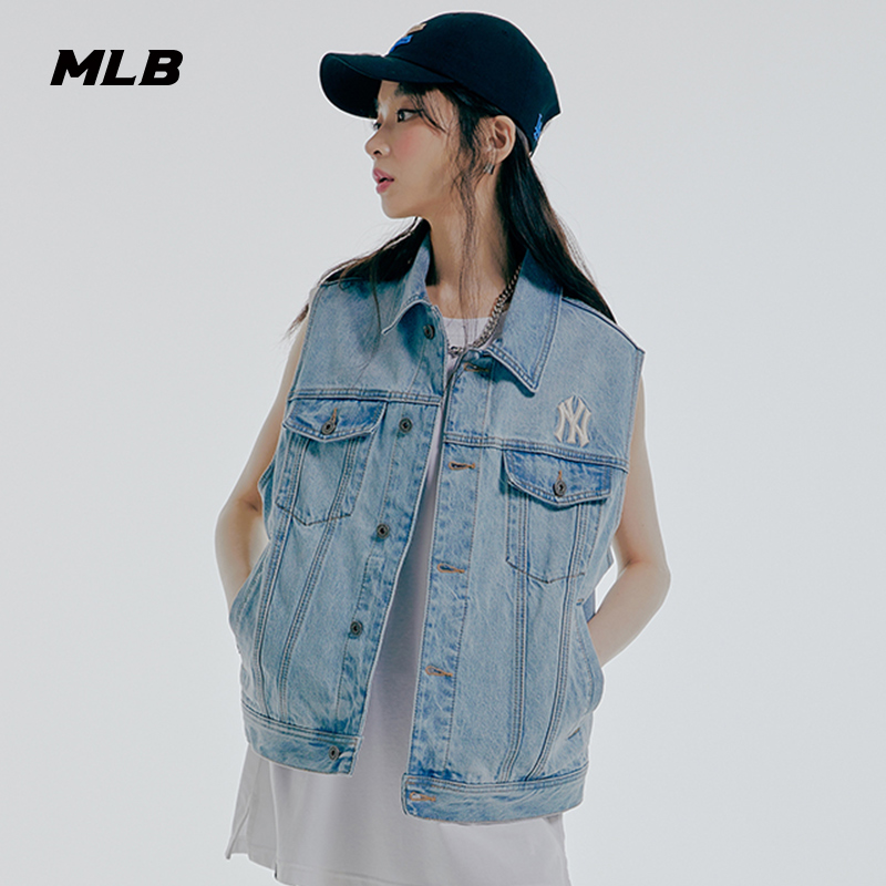MLB official men and women vest retro Danning denim vest jacket sports 21 Year spring and summer new VTN1
