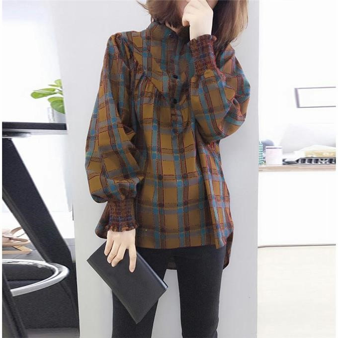 2020 spring and autumn womens large Plaid Shirt casual coat Korean autumn loose long sleeve shirt outerwear