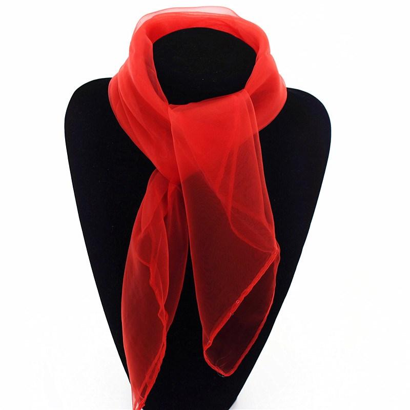 白色秋冬女士方块大红色装饰搭配时尚短款舞蹈丝巾纱巾商务表演