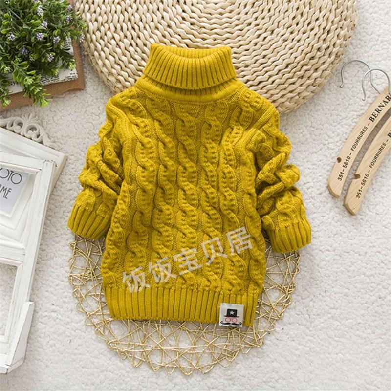 秋冬新款中小儿童毛衣男童女童高低领套头加厚保暖纯色针织打底衫