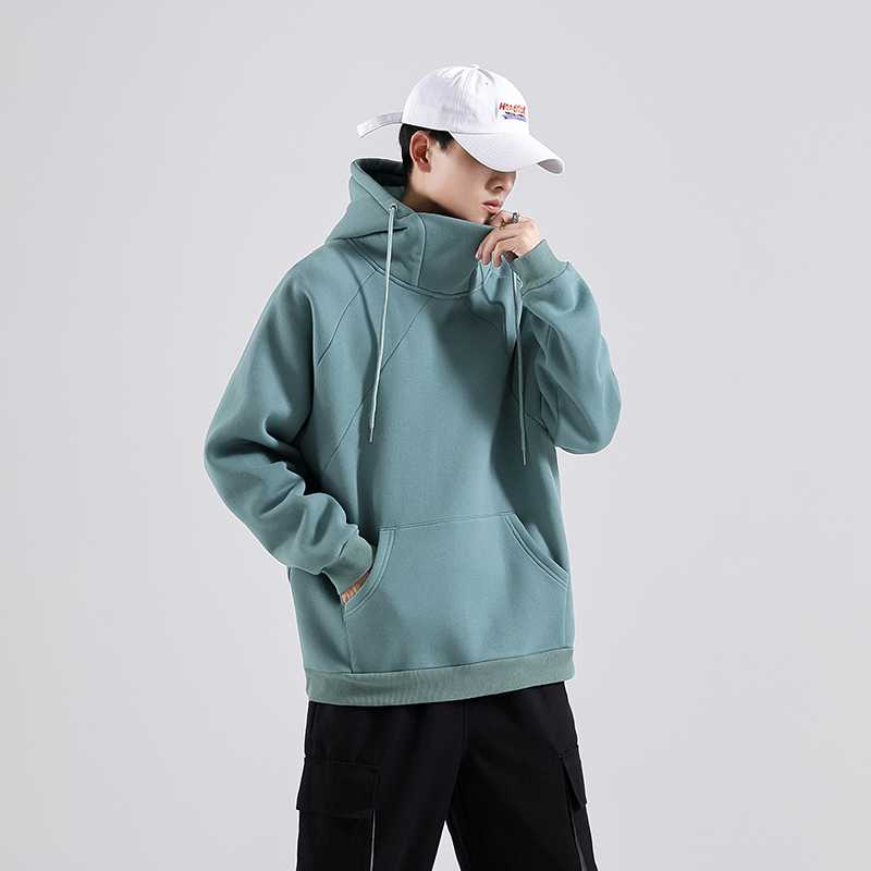 2020 fashion Japanese shadowless wall autumn mens and womens solid high collar Hooded Sweater loose sweater jacket