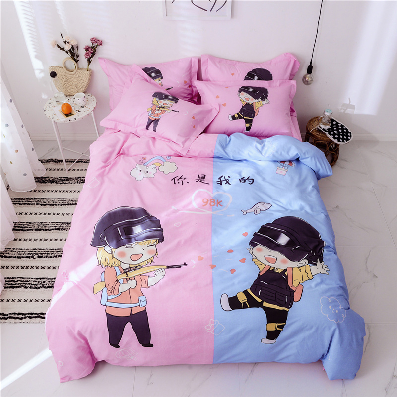 Cartoon boys all cotton bed sheet and quilt cover four piece set of pure cotton childrens three piece set of bedding