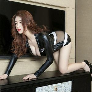 黑色高叉连体衣紧身包臀连身衣性感美女比基尼泳装三点式泳衣