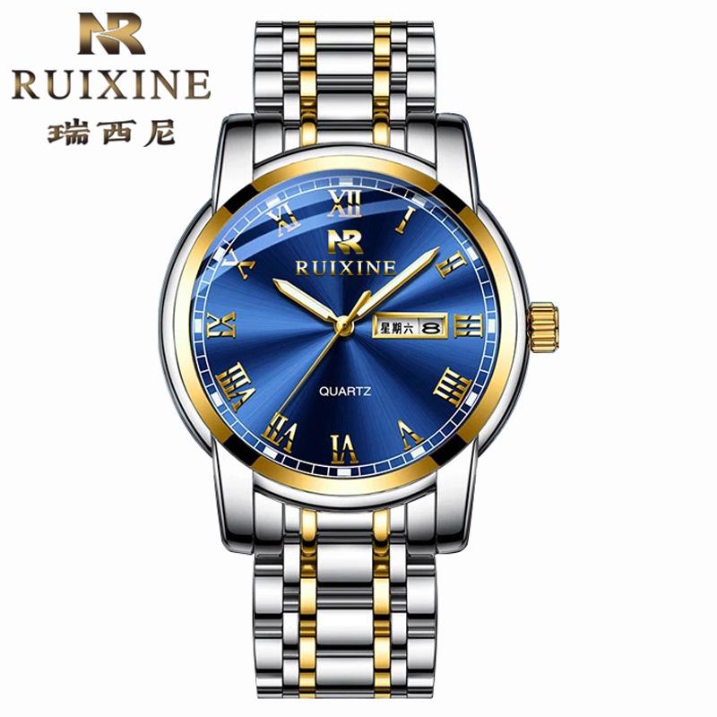 瑞西尼品牌进口男士手表夜光防水双日历潮流时尚气质商务石英腕表
