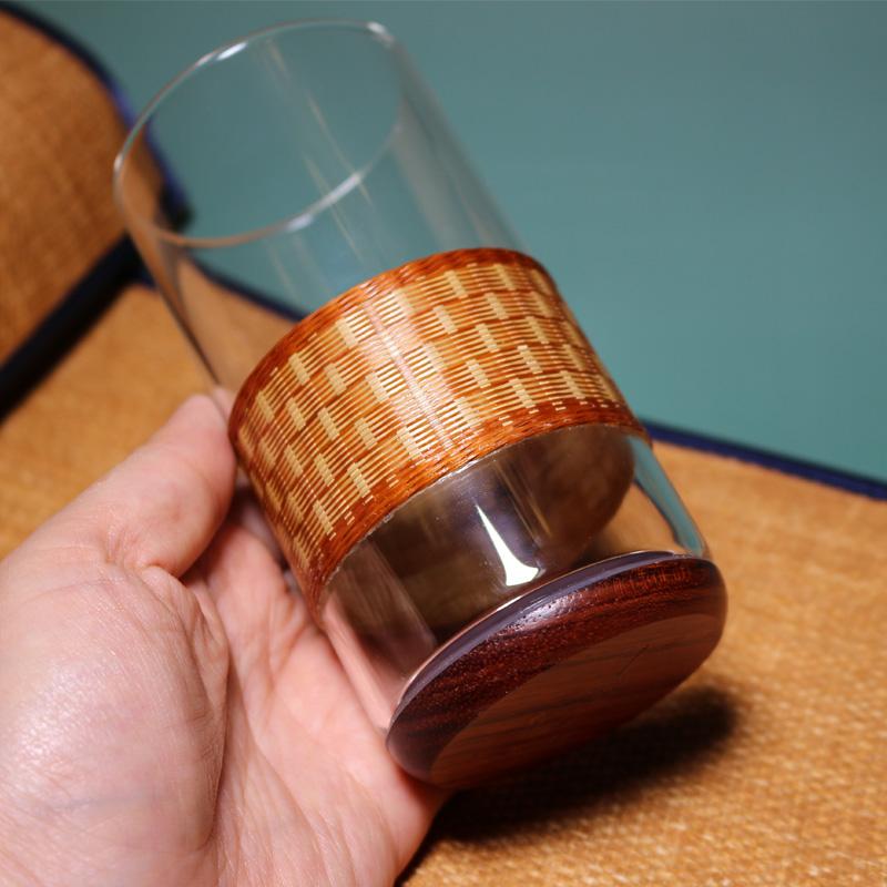非遗竹丝扣瓷竹编绿茶杯专用办公室耐热玻璃杯成都特色手工艺礼物