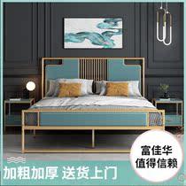 现代简约轻奢新中式铁艺床1.2米1.8米金色软靠铁床架金属双人床