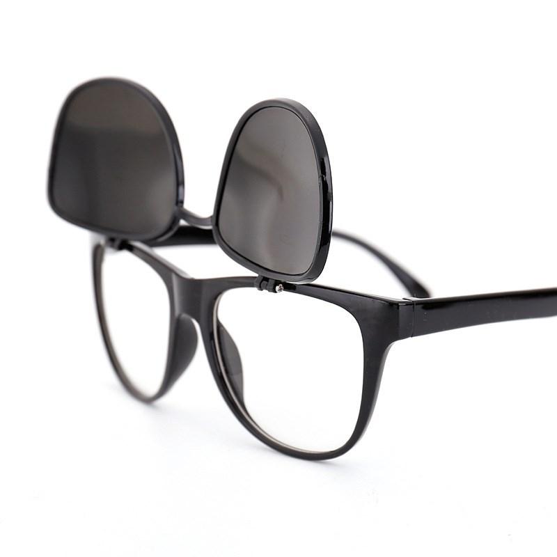 蛤蟆双层复古韩版太阳眼镜男女个姓大框翻盖墨镜平光两用防晒眼镜