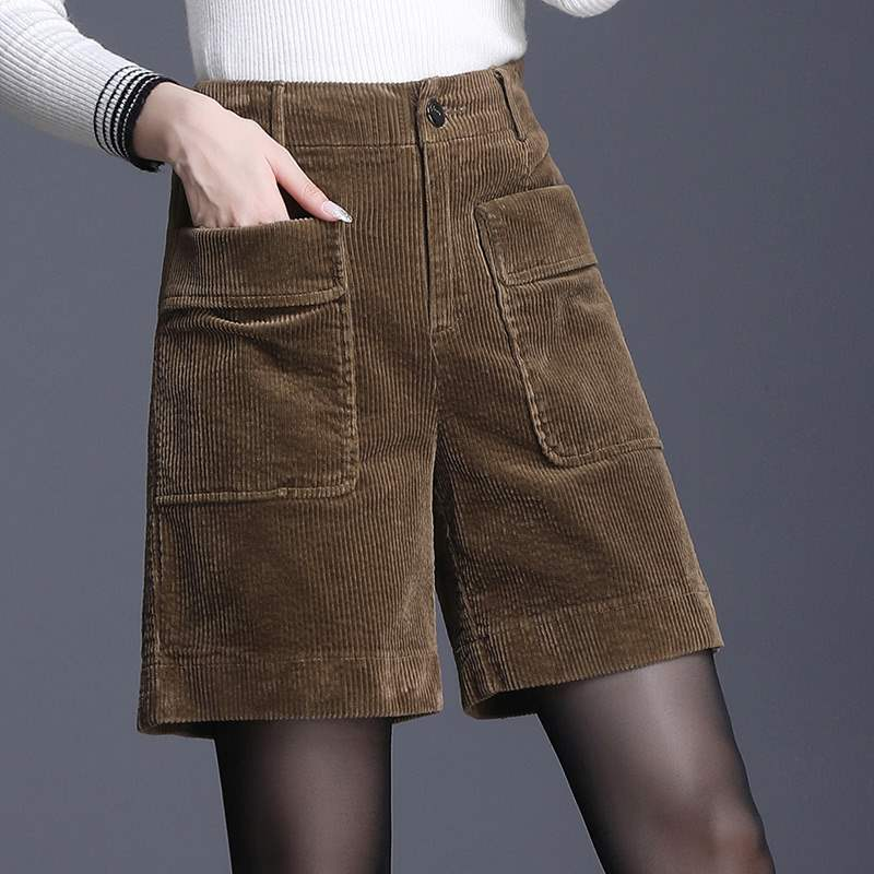 Striped wide leg straight short pants 2019 new womens autumn and winter loose high waist corduroy Capris for women