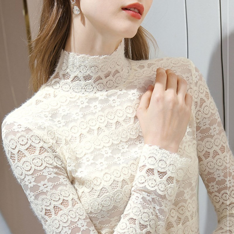 Lace half high collar brushed lace bottomed blouse womens Plush elastic foreign style inner gauze blouse womens warm mesh blouse