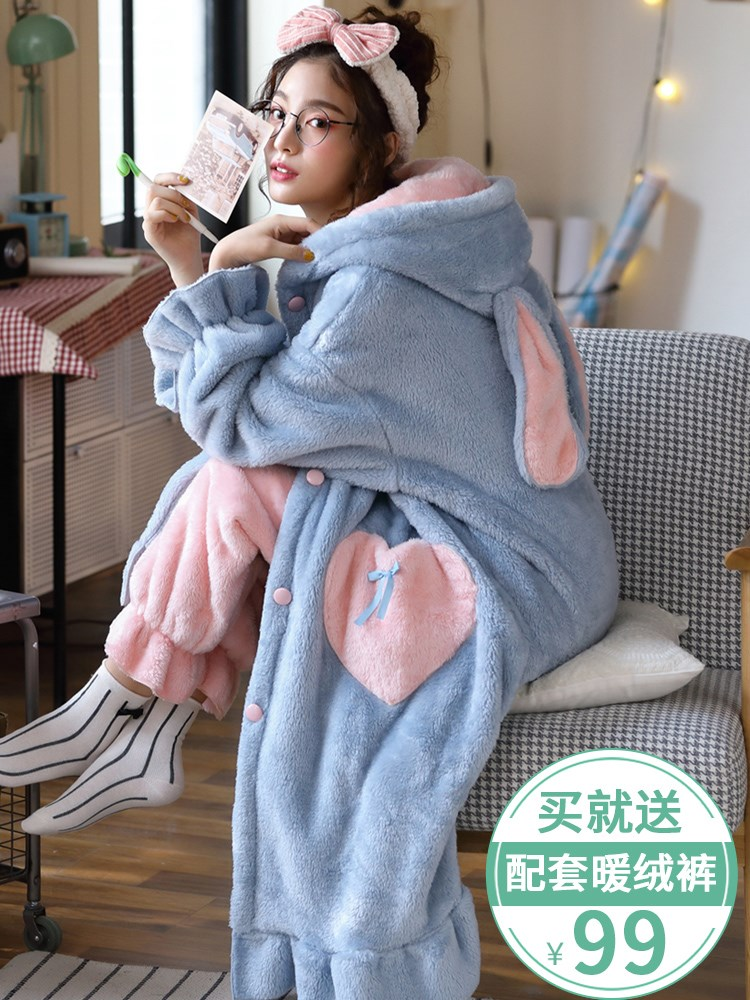 Nightgown womens autumn and winter long coral velvet pajamas thickened Plush bathrobe flannel womens nightgown housewear suit