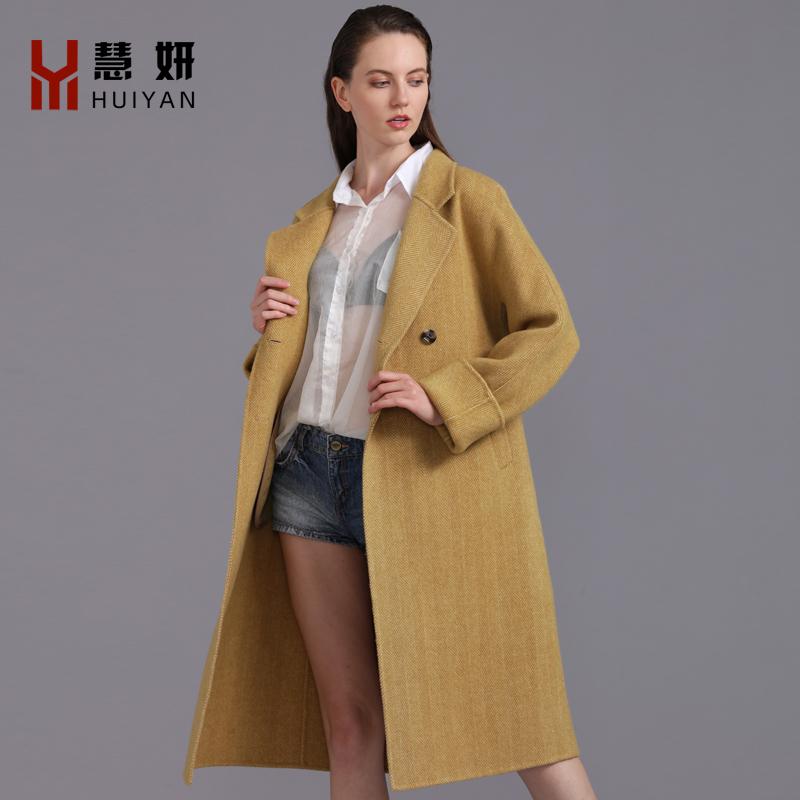 新款双面羊绒大衣女新款流行宽松呢子时尚中长款羊毛呢外套秋冬季
