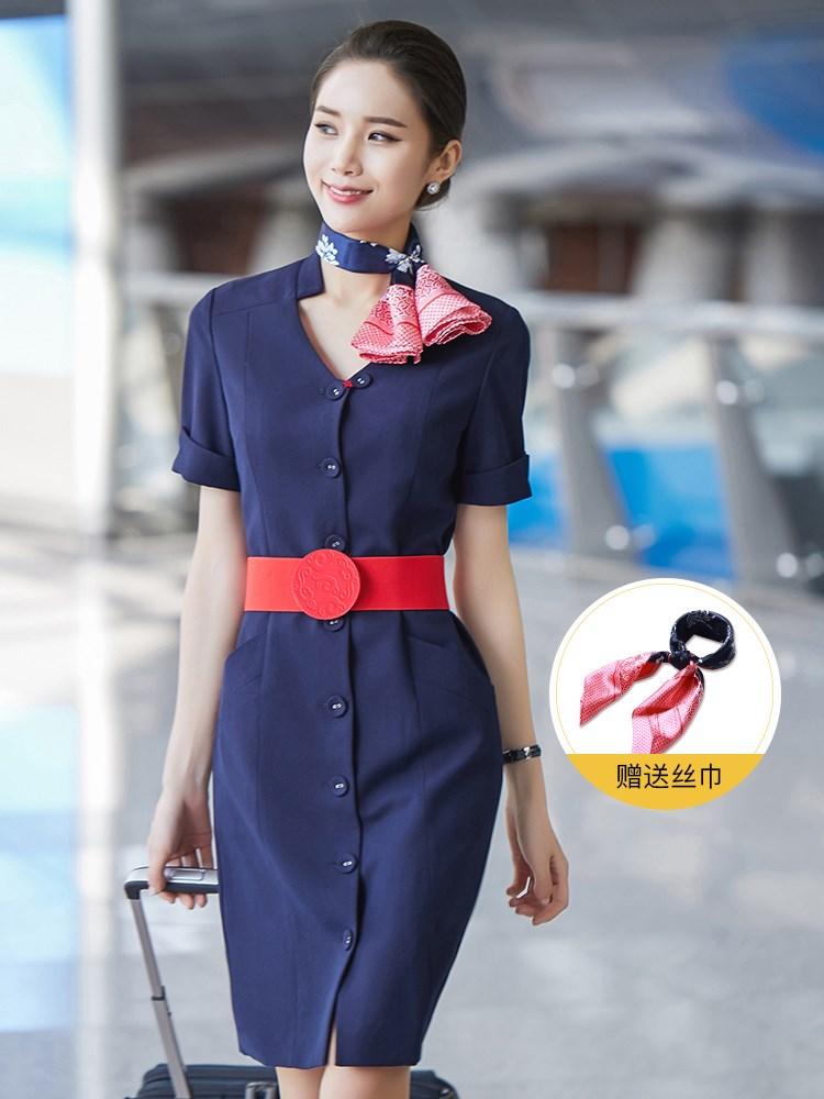 东航空姐制服职业套装女高端南航工装连衣裙酒店前台美容师工作服