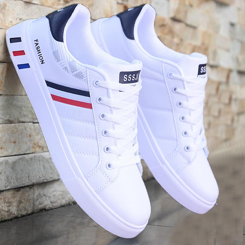 2021春季新款休闲鞋男士板鞋潮流透气小白鞋男子运动鞋低帮皮板鞋