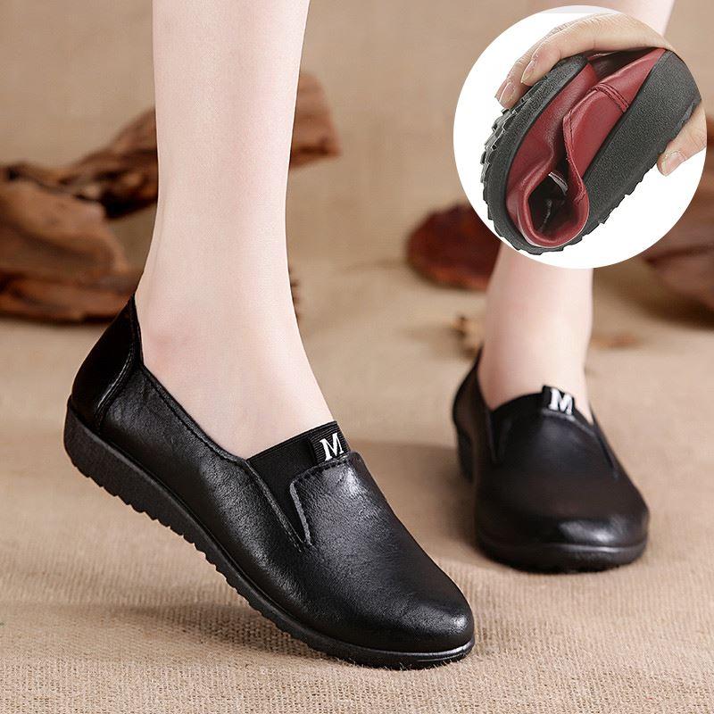休闲鞋防滑夏款黑色皮鞋老人鞋夏天穿气垫单鞋女士春秋大童平底
