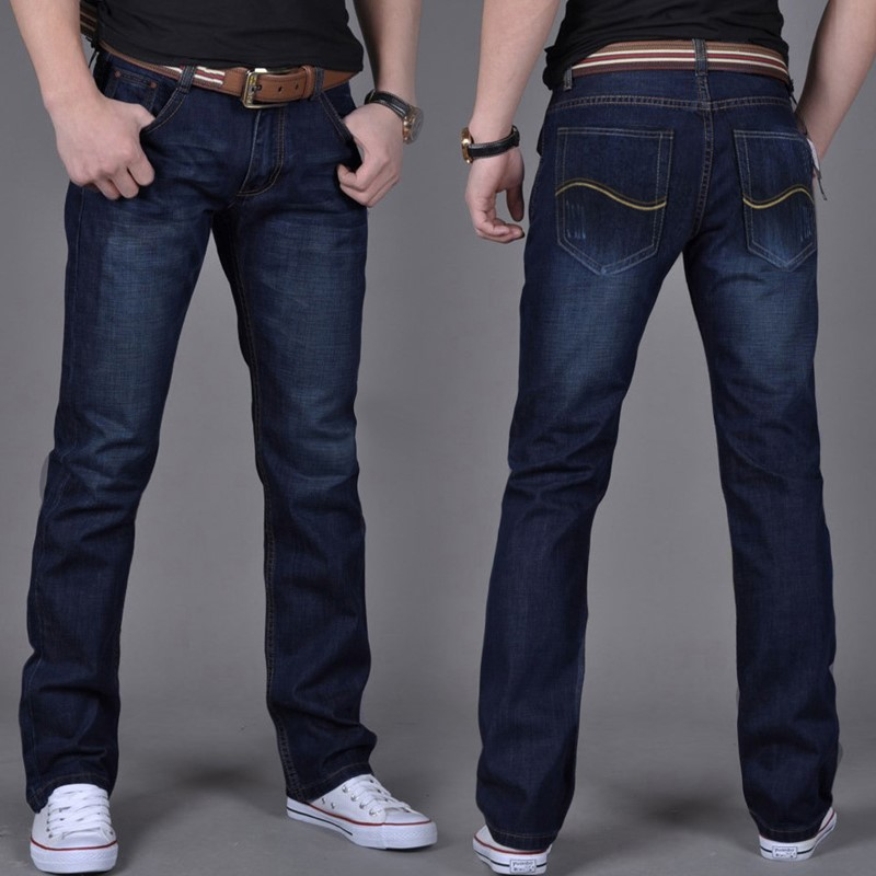 Loose denim pants mens straight tube spring and autumn ultra thin wide leg casual large size spring and summer jeans
