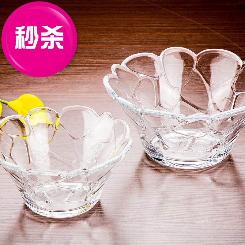 家用餐具大碗组合水晶碗玻璃碗水果K沙拉碗泡面碗透明碗甜品碗可
