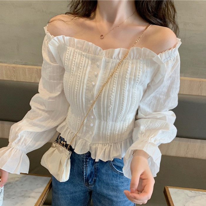 Shirt women spring 2020 New Retro one line collar off shoulder waist Slim Fit Shirt bubble sleeves show thin top trend