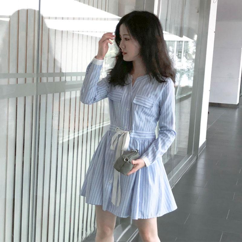 10月22日最新优惠秋装150cm小个子145cm矮个子加小码XS 小清新条纹连衣裙衬衫裙子