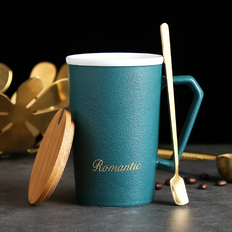 Nordic creative mug with wooden spoon simple personality trend ceramic cup coffee cup womens home