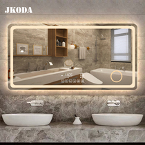 浴室防霧鏡藍牙觸摸屏智能鏡衛生間化妝帶燈發光鏡子掛墻led壁掛