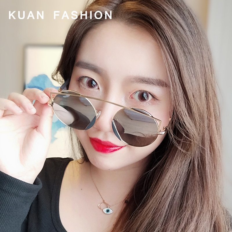 Female 2019gm new Korean Sunglasses round face big frame cat ears polarized driving net red