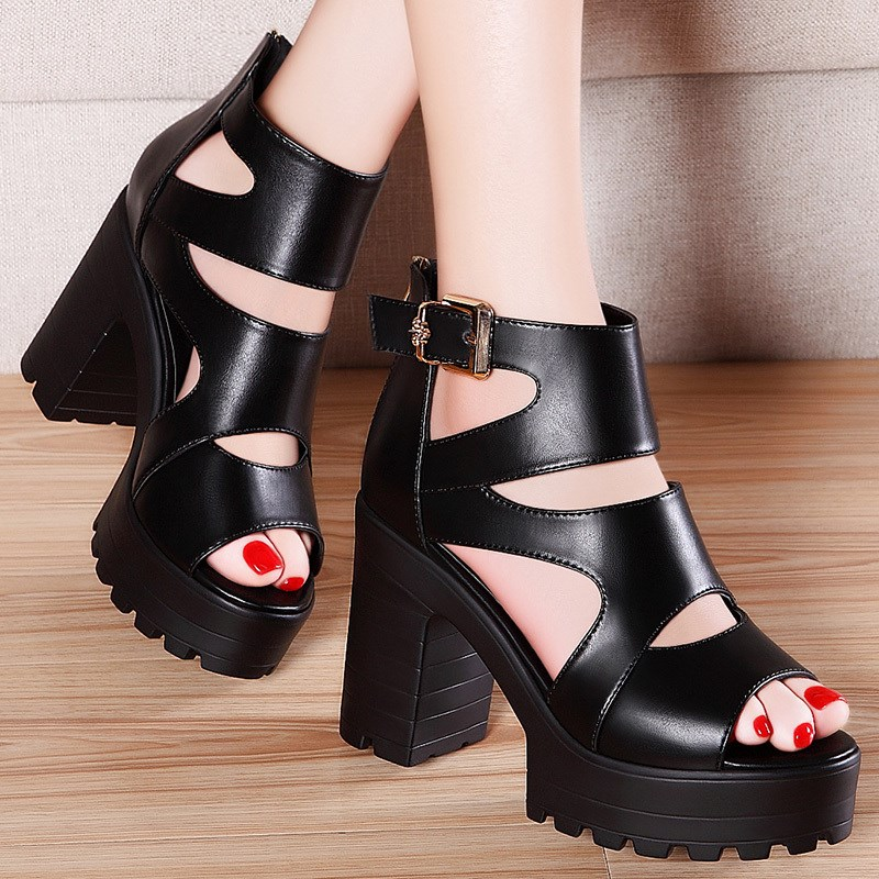 Spring 2020 new Korean version of versatile fish mouth leather thick heel waterproof platform slope heel high heel ROMAN SANDALS