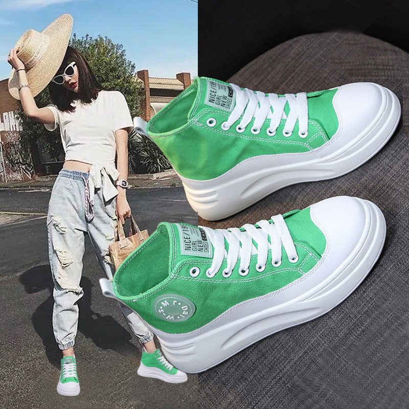 High top shoes women's summer 2019 super hot all-around students' thick bottom canvas shoes green net Red Hip Hop ins cool board shoes