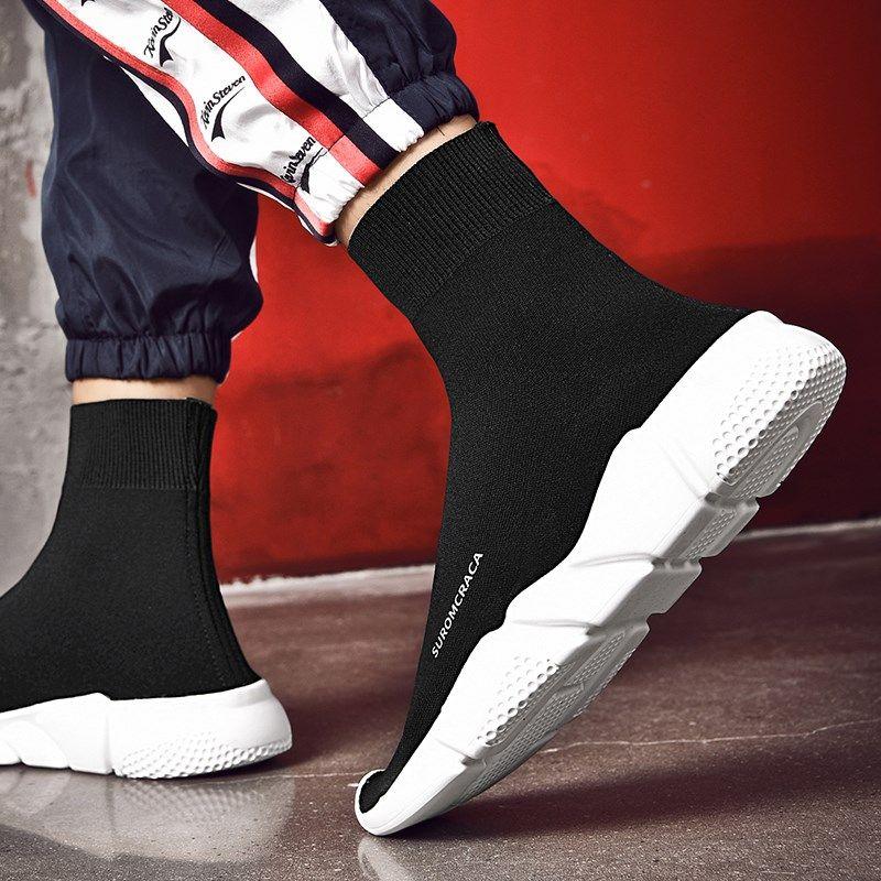 春季新款袜子鞋男士高帮鞋潮流韩版网红弹力百搭运动休闲高邦板鞋