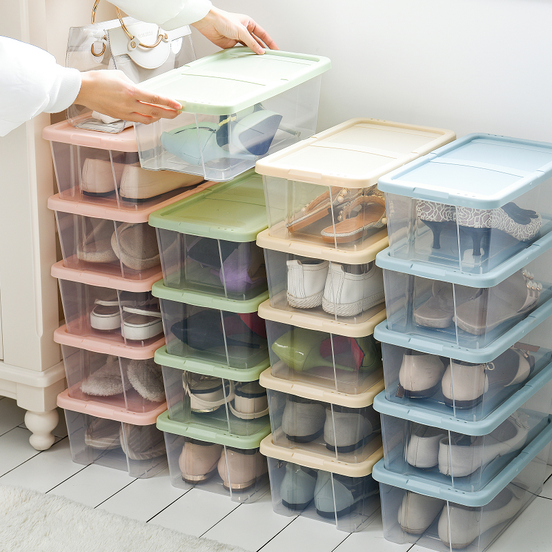 Thickened plastic shoes moisture-proof storage box transparent shoe box combination drawer shoe boot box 5