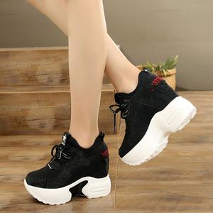 特价清仓韩版厚底超高跟10cm内增高女鞋休闲帆布鞋系带松糕底单鞋