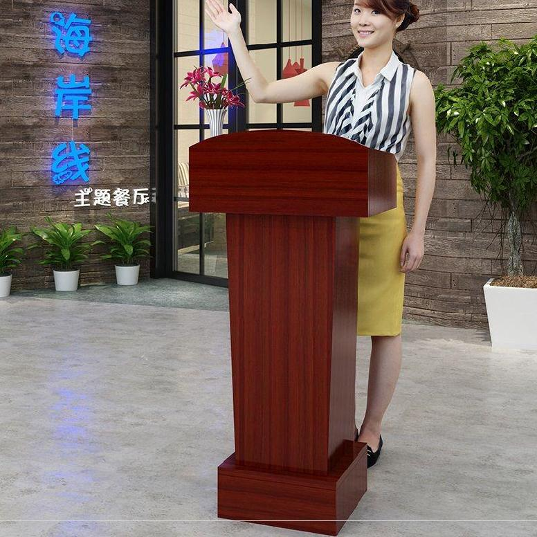 A reception desk small leader strong rostrum speech table simple wedding reception hall lecture desk school