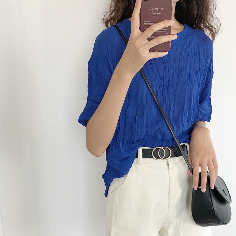 2020夏新款韩版褶皱雪纺衫女遮肚子宽松显瘦短袖小衫蓝色网红上衣