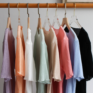 夏季新款洋气百搭雪纺短袖上衣女内搭网纱打底衫遮肚子甜美小衫仙
