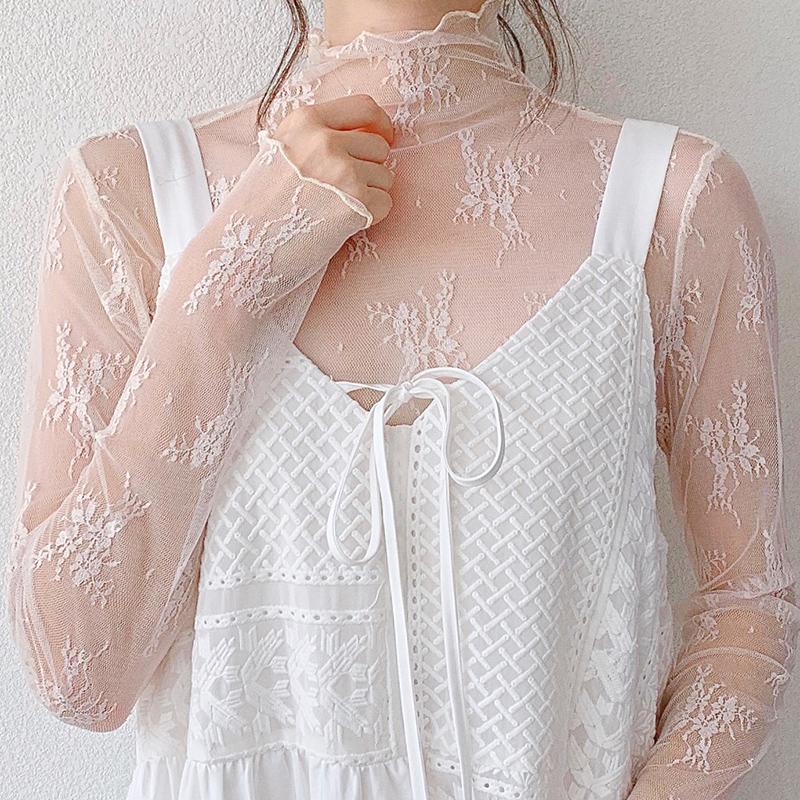 蕾丝打底衫女长袖2020春秋新款高领内搭超仙纱衣性感薄纱网纱上衣