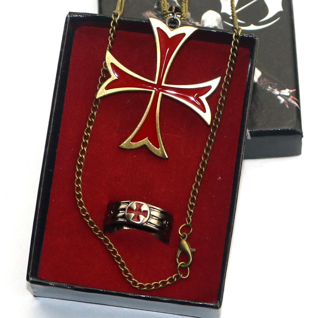 游戏周边刺客信条艾吉叛变圣殿骑士红十字戒指配燕尾十字项链套