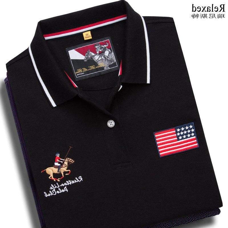 Genuine counter cotton short sleeve Lapel T-shirt brand mens Polo Shirt USA polo dress with tie