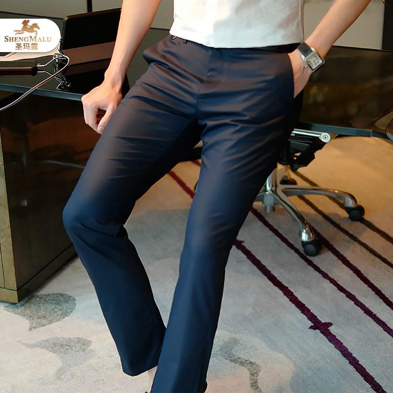 限时秒杀圣玛露商务聚酯纤维男士夏装休闲裤