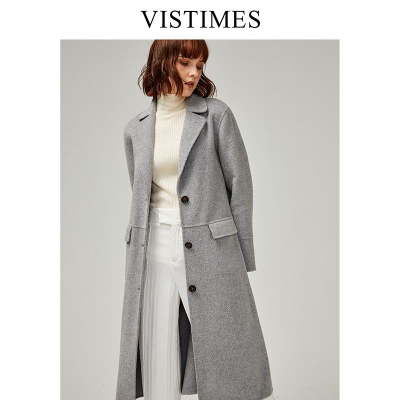 VISTIMES毛呢大衣女中长款气质显瘦双排扣羊毛呢外套2019秋冬新款