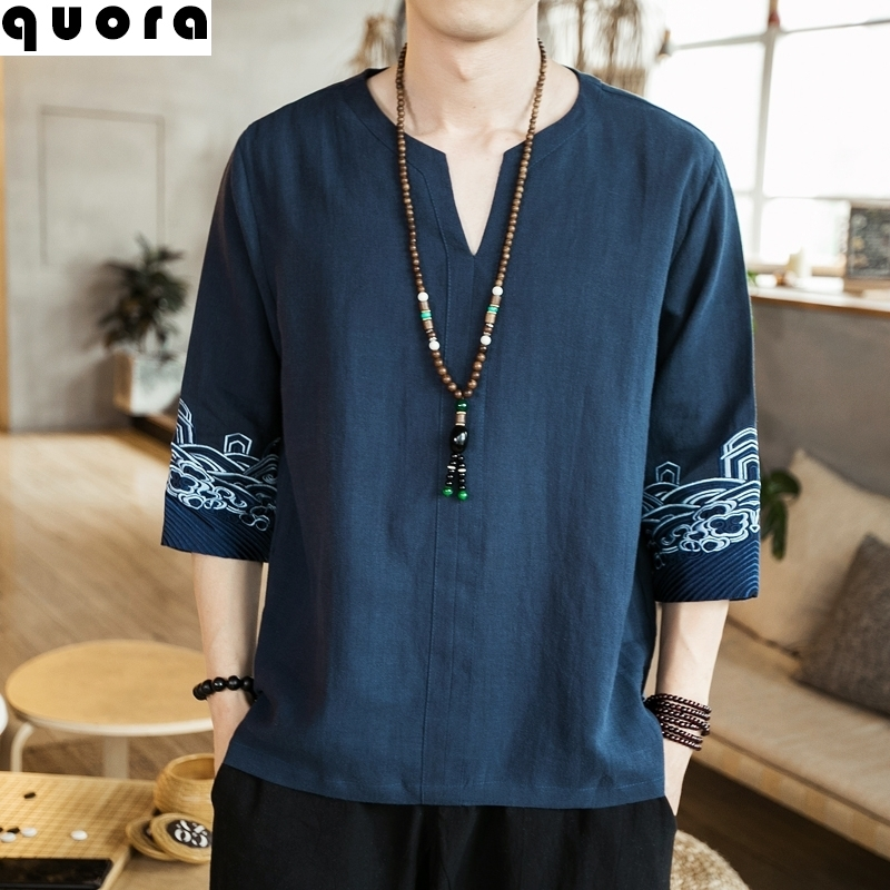 Linen National Style Embroidered short sleeve male Taoist costume Chinese Zen 5 / 5 sleeve young Tang Dynasty T-shirt