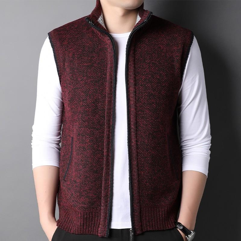 高端名品男士马甲春秋款中年男装外套夹克背心红色本命年无袖上衣