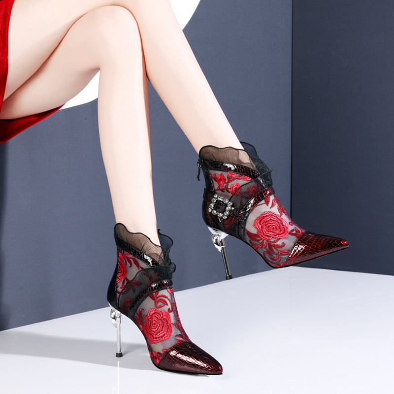 Light luxury brand red sandals thin heel gauze embroidered high top sandals super high heel water drill button lace short in summer