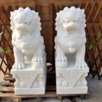 石雕大理石汉白玉青石狮子一对看门镇宅家门口用寺庙祠堂墓地摆件