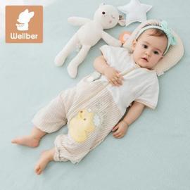 婴儿睡袋秋冬季加厚宝宝纱布睡袋四季通用款儿童分腿睡袋防踢被子图片