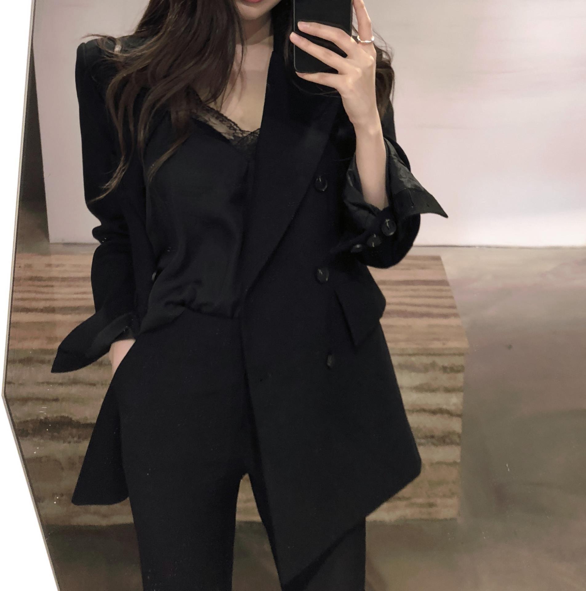 20春秋新版休闲气质小西装版女c双排扣西服外套潮