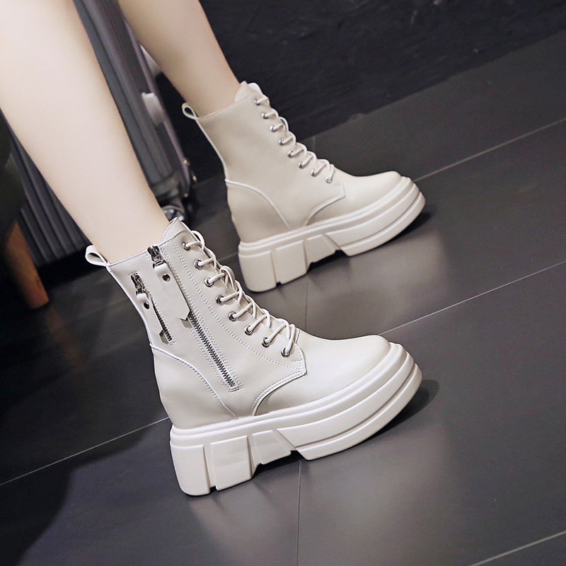 9cm inside high boots 2021 autumn new thick soled Martin boots versatile high top leather boots womens high-heeled chimney boots