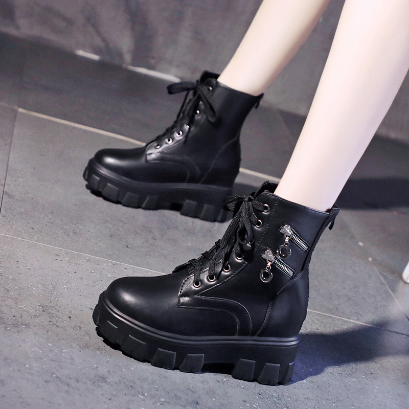 New autumn 2020 new style 9cm increase Martin boots, womens thick soled motorcycle boots, high heel short boots, versatile short boots