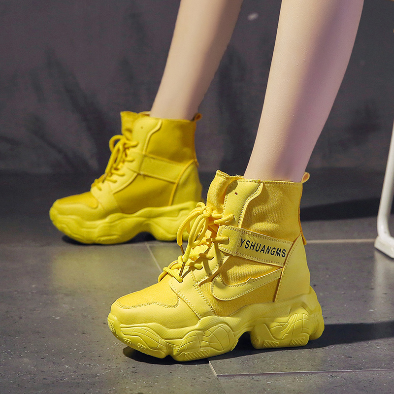 9cm increase Martin boots womens 2021 fall new thick soled high-heeled canvas shoes show thin slope heel Casual Short Boots