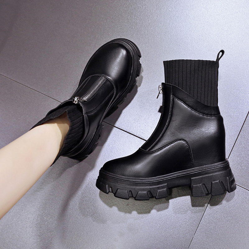 New 10cm in autumn and winter 2020, with plush Martin boots female thick bottom high heel short tube boots showing thin cotton boots women