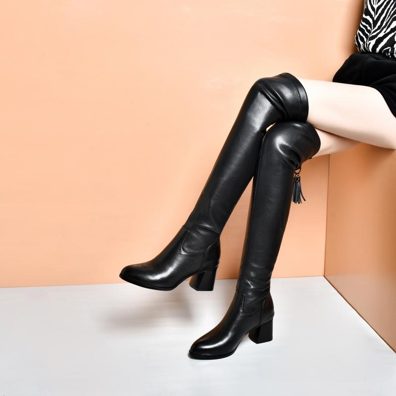 Autumn does not drop the tube to show thin autumn winter riding boots womens knee high tube boots leather Plush Knight boots